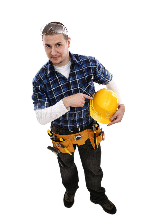 konstruktionshardhat som pekar arbetaren arkivbild