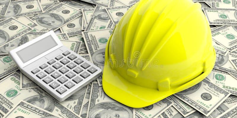 Konstruktionshjälm och räknemaskin på dollarsedelbakgrund illustration 3d stock illustrationer