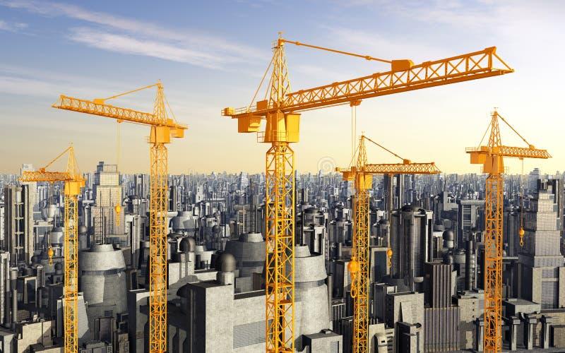Konstruktionskranar framme av skyskrapor royaltyfri illustrationer