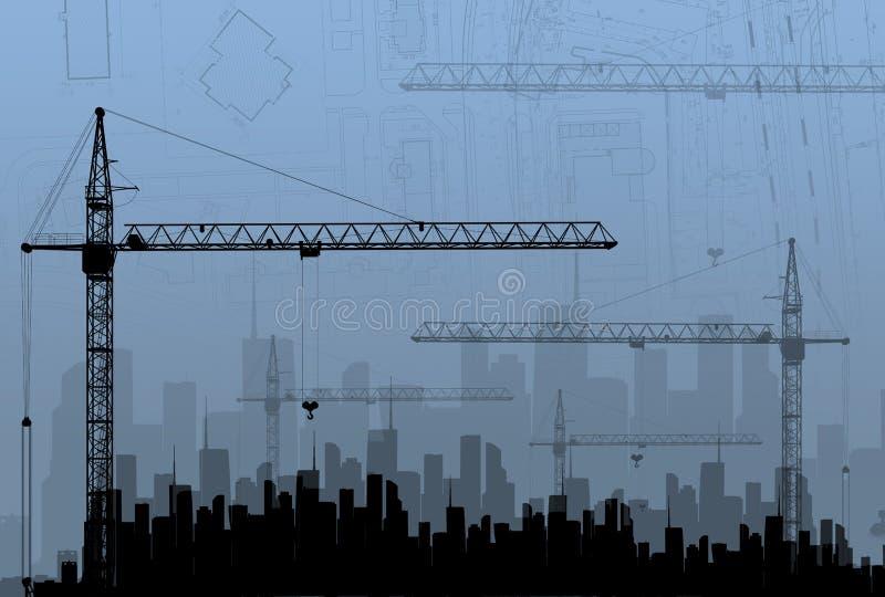 Konstruktionskranar på bakgrundsbyggnaderna stock illustrationer