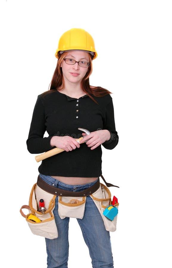 konstruktionskvinna royaltyfri foto