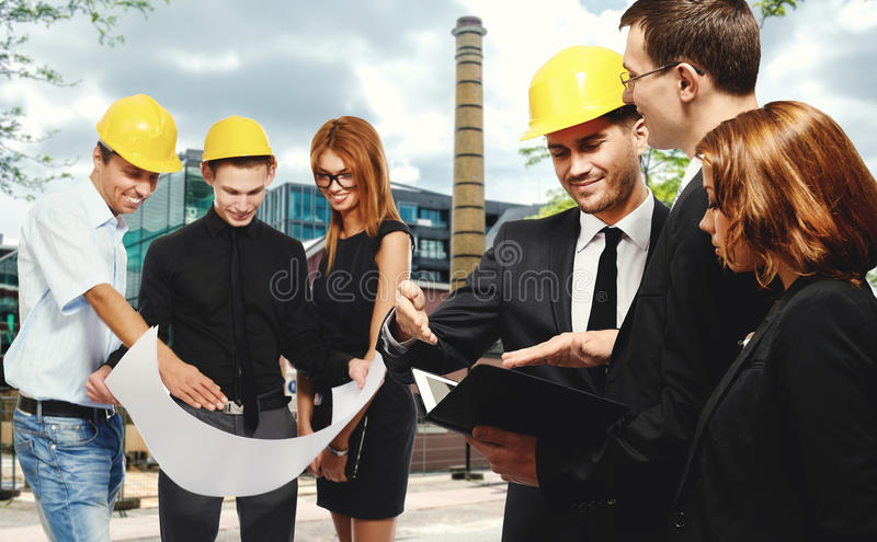 Konstruktionslag på affärsmötet arkivfoton