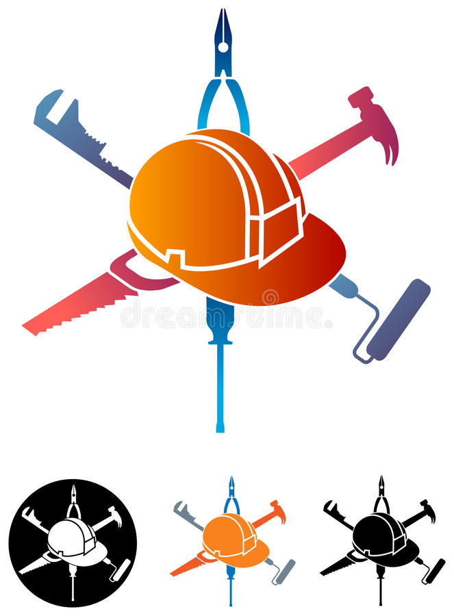 Konstruktionslogo royaltyfri illustrationer