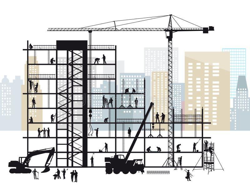 Konstruktionslokal i stad royaltyfri illustrationer