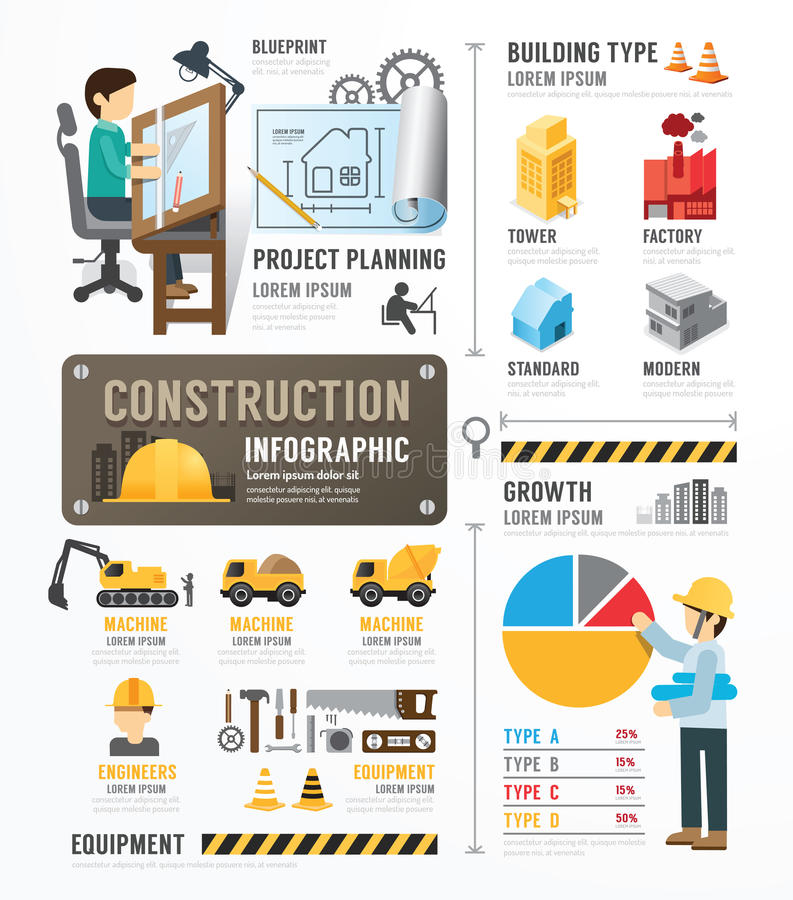 Konstruktionsmalldesign Infographic begreppsvektorillust stock illustrationer