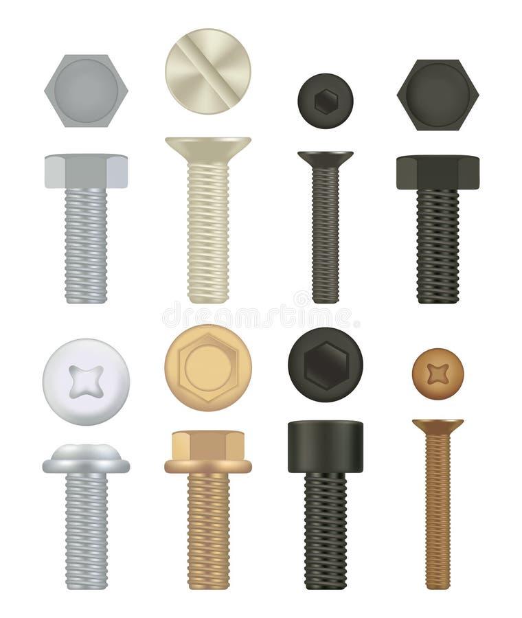 Konstruktionsmaskinvarusymboler Uppsättning av skruvar, bultar realistisk vektor 3D royaltyfri illustrationer