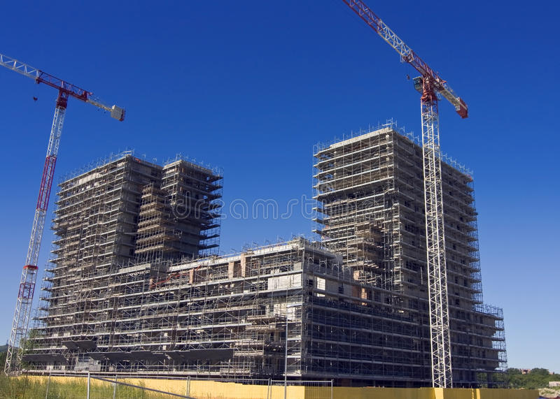 konstruktionsmaterial till byggnadsställninglokal royaltyfria bilder
