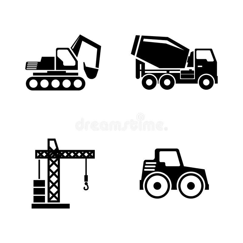 Konstruktionsmedel, byggande maskiner Enkla släkta vektorsymboler vektor illustrationer