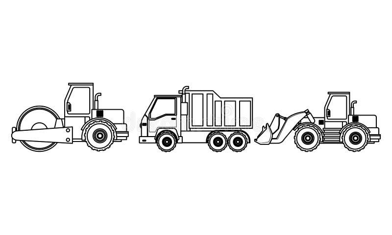 Konstruktionsmedelmaskineri i svartvitt stock illustrationer