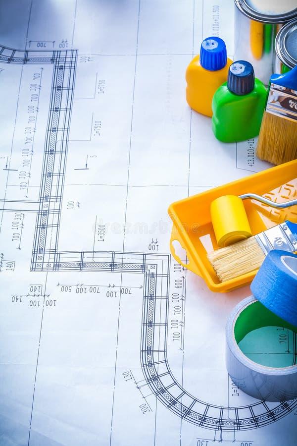 Konstruktionsplan med artiklar för att måla och royaltyfri foto