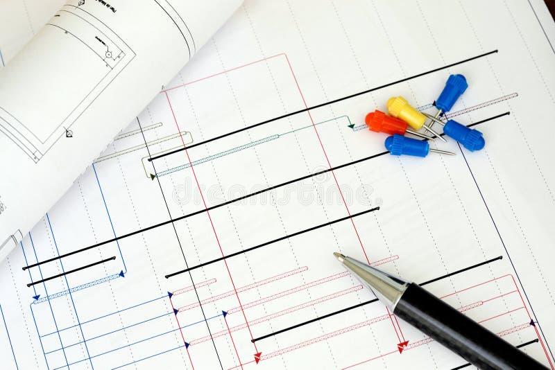 konstruktionsplanläggningsprojekt arkivbild