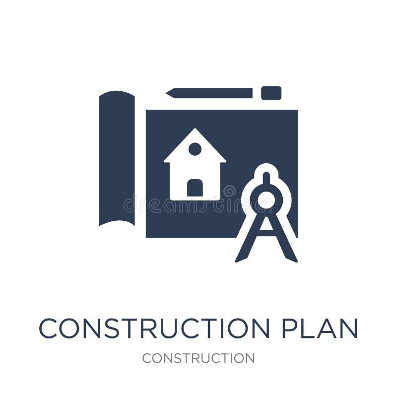 Konstruktionsplansymbol Moderiktig plan ico för vektorkonstruktionsplan stock illustrationer