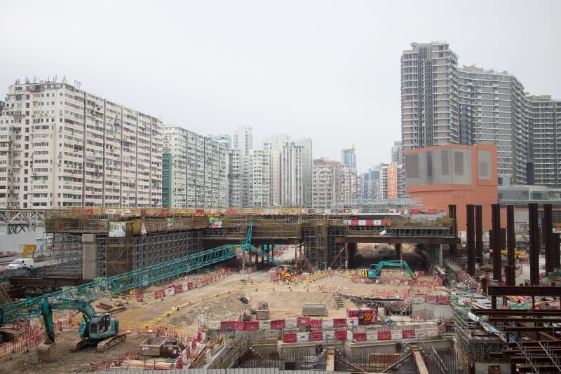 Konstruktionsplats av Hong Kong Express Rail arkivfoto