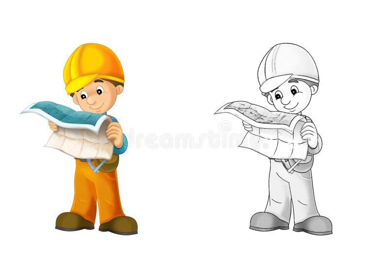 Konstruktionsplats - färgläggningsida med förtitt stock illustrationer