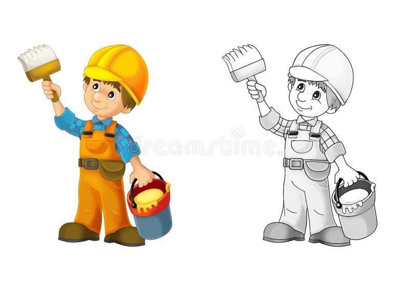 Konstruktionsplats - färgläggningsida med förtitt royaltyfri illustrationer