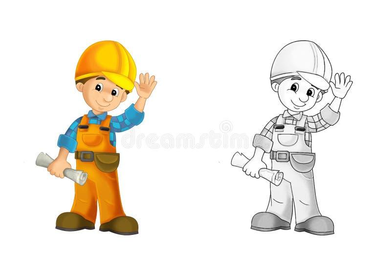 Konstruktionsplats - färgläggningsida med förtitt vektor illustrationer