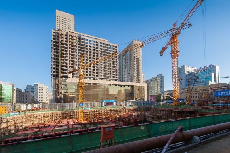 Konstruktionsplats i Kina fotografering för bildbyråer