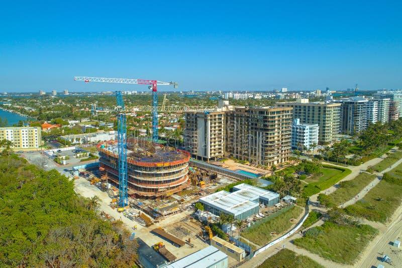 Konstruktionsplats Miami Beach Florida Surfside arkivfoto