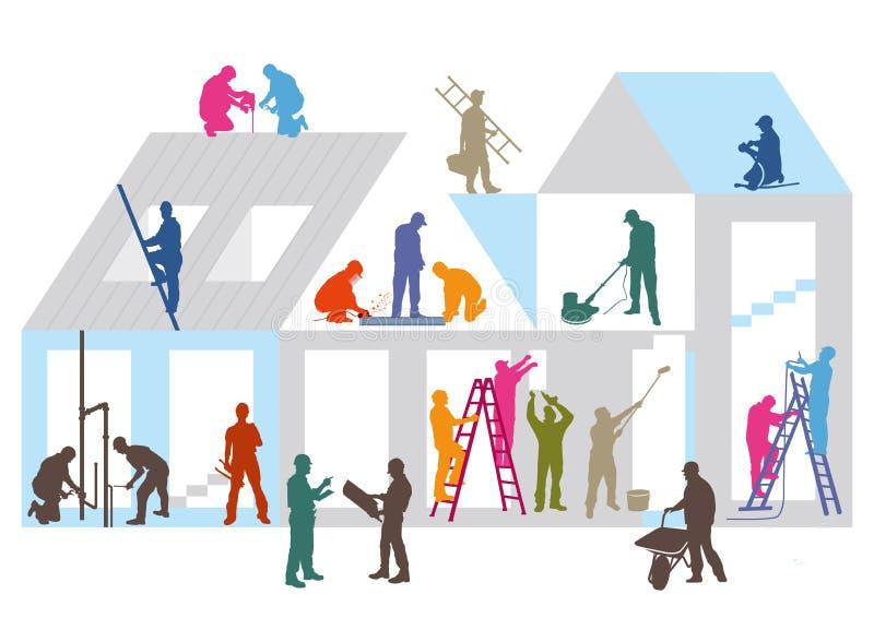 Konstruktionsplats och arbetare stock illustrationer