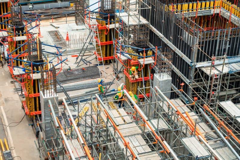 Konstruktionsplats på process under konstruerat, Real Estate utveckling, affärsbransch arkivbilder