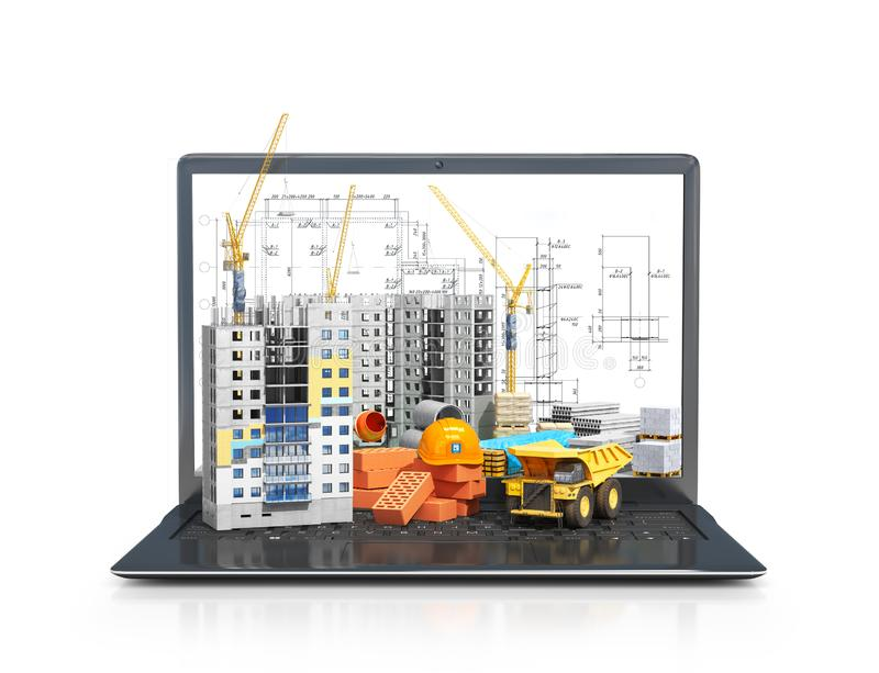 Konstruktionsplats på skärmen av en bärbar dator, skyskrapabyggnad, byggnadsmaterial royaltyfri fotografi