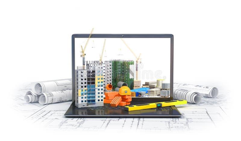 Konstruktionsplats på skärmen av en bärbar datordator, skyskrapa, teckningsplan, byggnadsmaterial vektor illustrationer