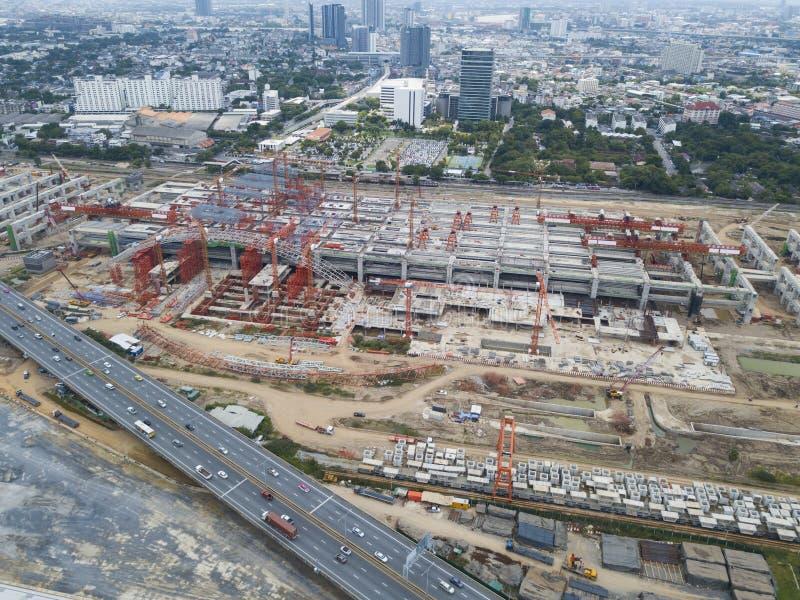 Konstruktionsplats som ses från över royaltyfri foto