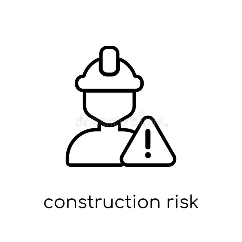 konstruktionsrisksymbol Moderiktig modern plan linjär vektor Constru royaltyfri illustrationer