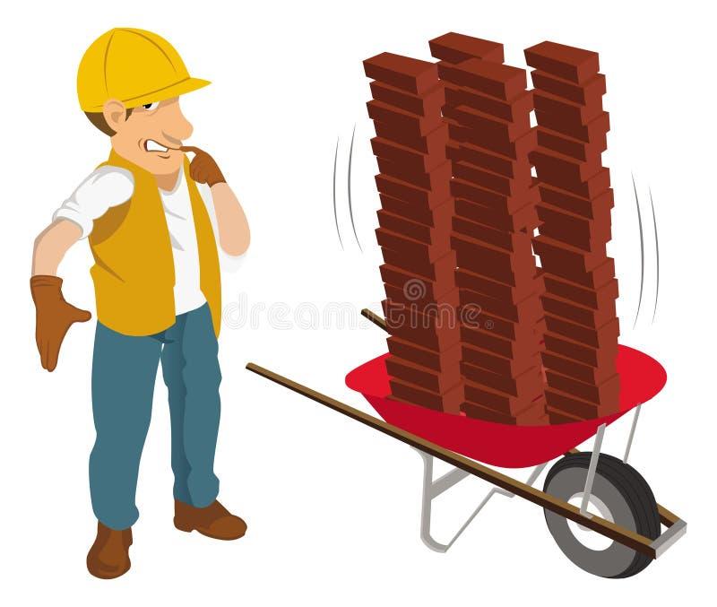 konstruktionsskottkärraarbetare stock illustrationer