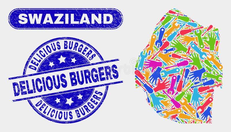 KonstruktionsSwaziland översikt och skrapade läckra hamburgarevattenstämplar stock illustrationer