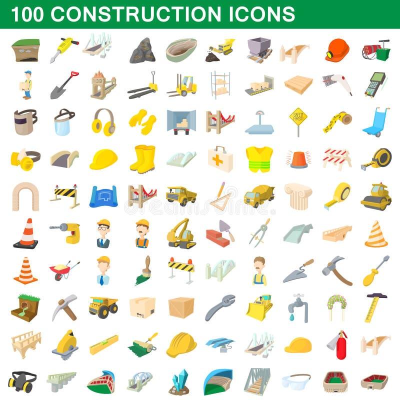 100 konstruktionssymboler uppsättning, tecknad filmstil vektor illustrationer