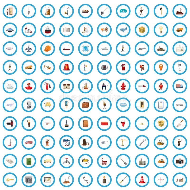 100 konstruktionssymboler uppsättning, tecknad filmstil stock illustrationer