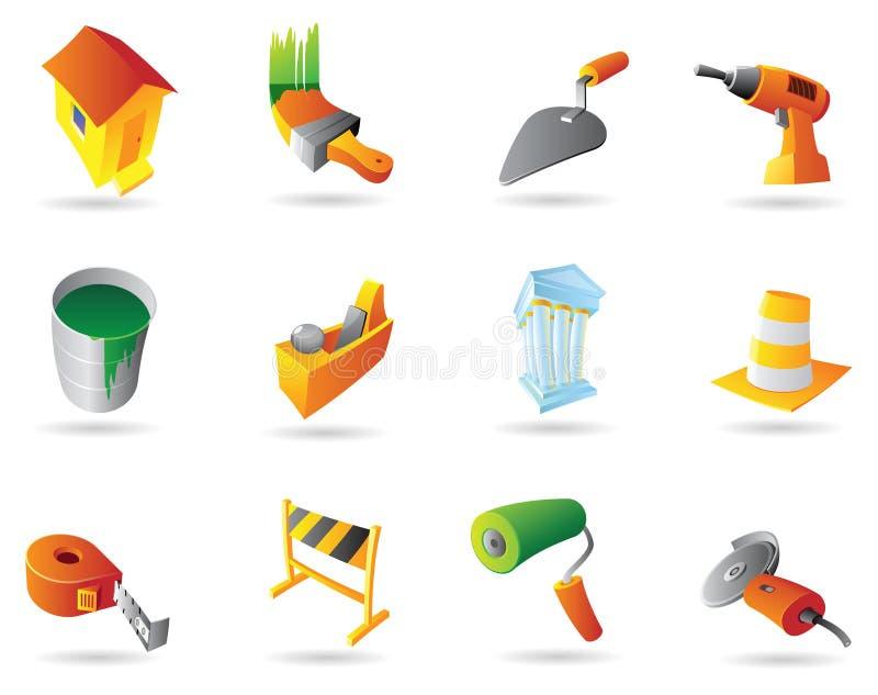 konstruktionssymbolsindustri vektor illustrationer