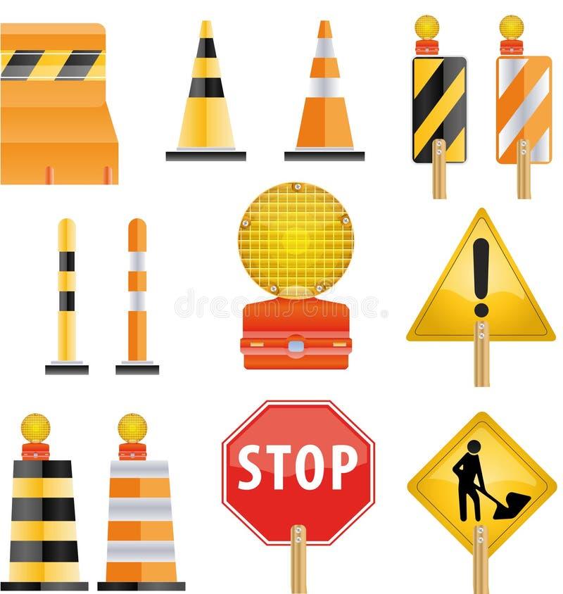 konstruktionssymbolsset stock illustrationer