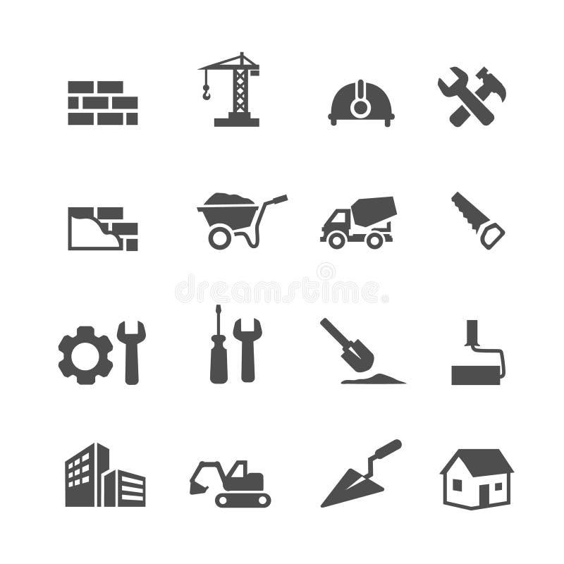 Konstruktionssymbolsuppsättning på vit bakgrund vektor royaltyfri illustrationer