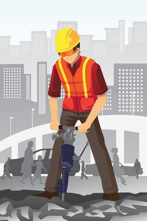 konstruktionsvägarbetare stock illustrationer