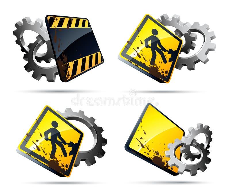 konstruktionsvägmärken stock illustrationer