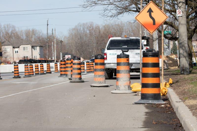 Konstruktionsvägstängning City Road Urban Major Road Detour royaltyfri fotografi