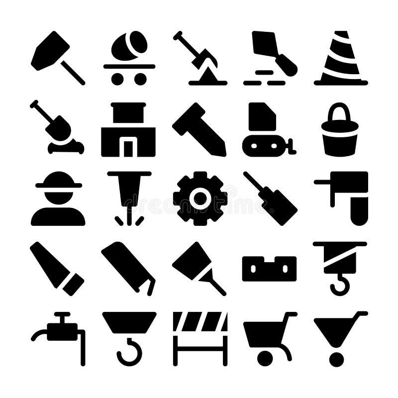 Konstruktionsvektorsymboler 3 vektor illustrationer