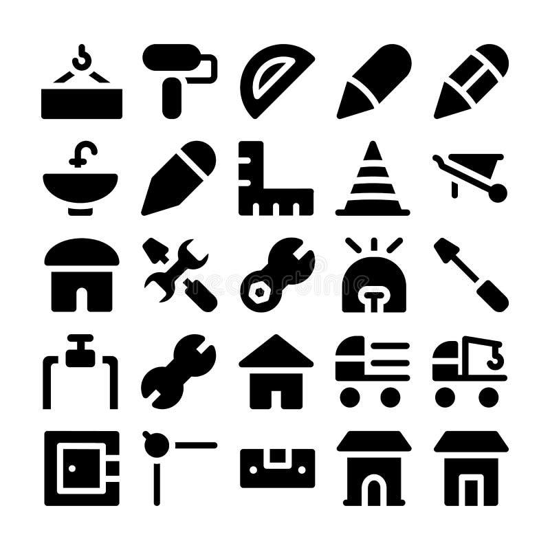 Konstruktionsvektorsymboler 9 royaltyfri illustrationer