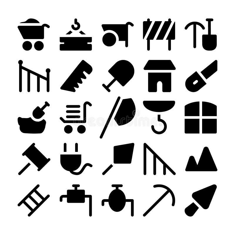 Konstruktionsvektorsymboler 10 vektor illustrationer