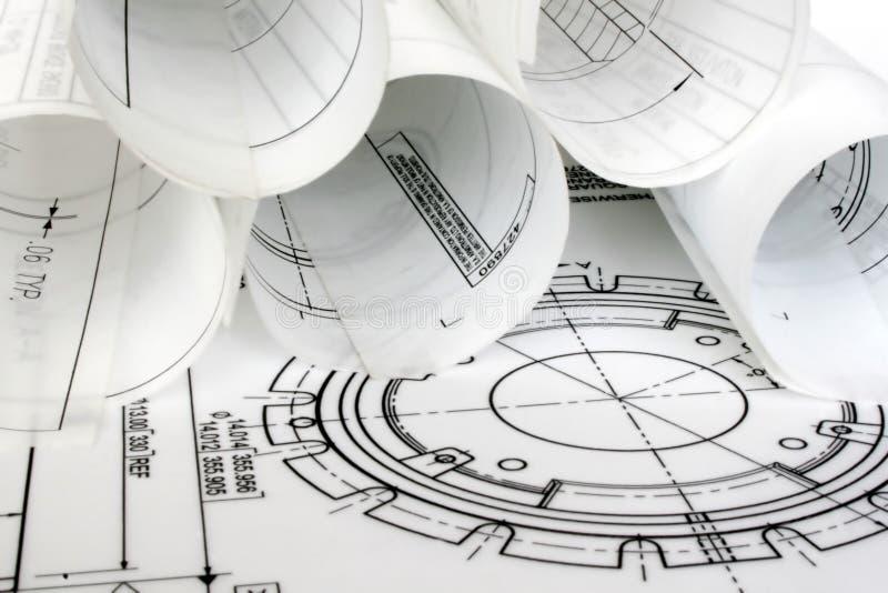 -Konstruktionszeichnungen stockfotos