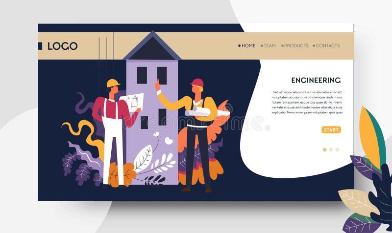 Konstruować architektonicznych projekt strony internetowej szablonu inżynierów royalty ilustracja
