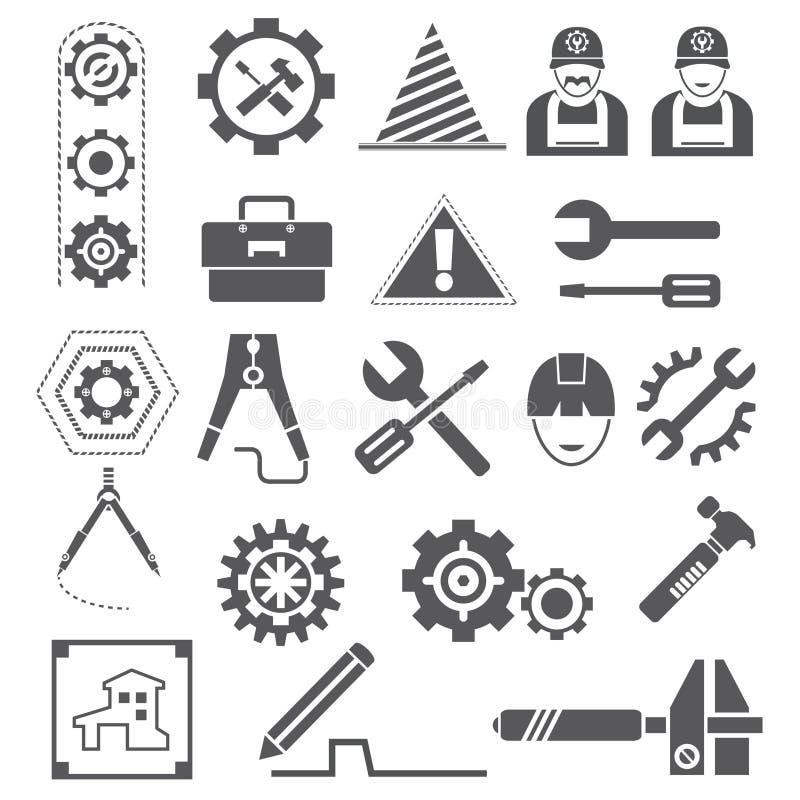 Konstruować ikony, przekładnie, narzędzia ilustracja wektor