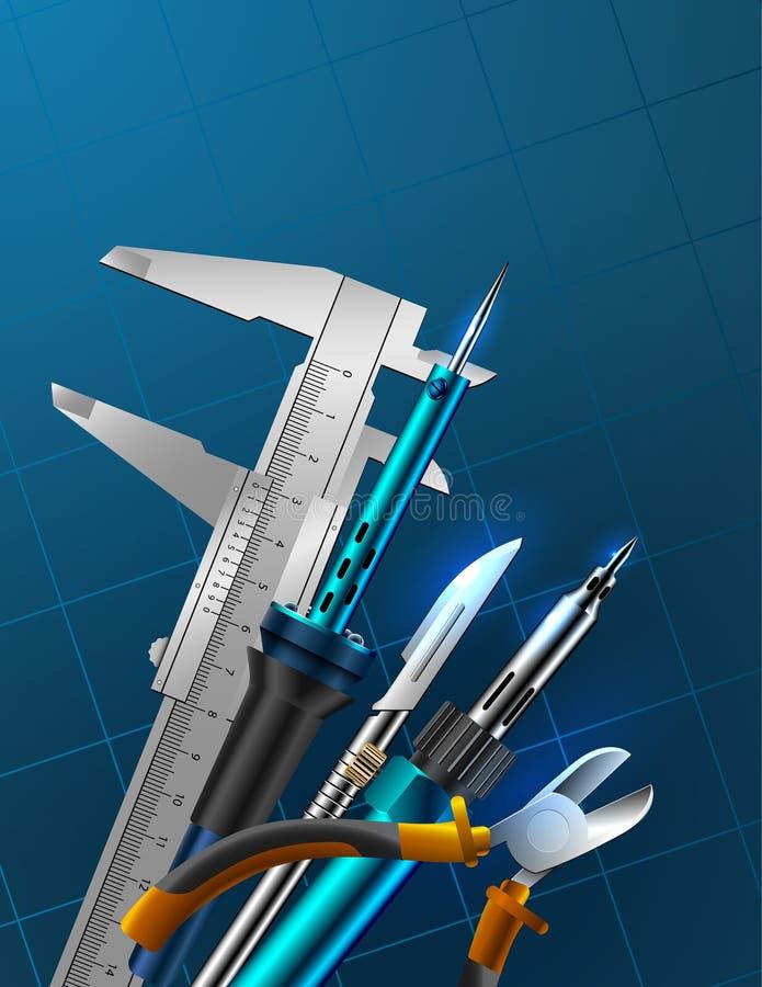 Konstruować narzędzia ob błękita tło Grup narzędzia: Caliper, lutowniczy żelazo, igielnego nosa cążki ilustracja wektor