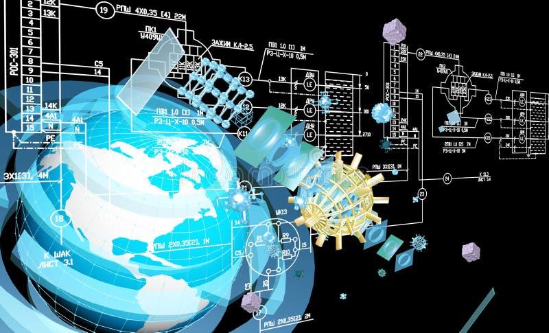 Konstruować przemysłowego projektuje połączenie z internetem ilustracja wektor