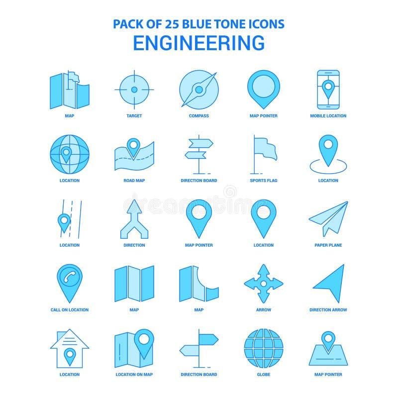 Konstruujący Błękitną brzmienie ikony paczkę - 25 ikon setów royalty ilustracja