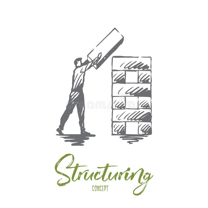 Konstruujący, element, organizacja, korporacyjny pojęcie Ręka rysujący odosobniony wektor royalty ilustracja