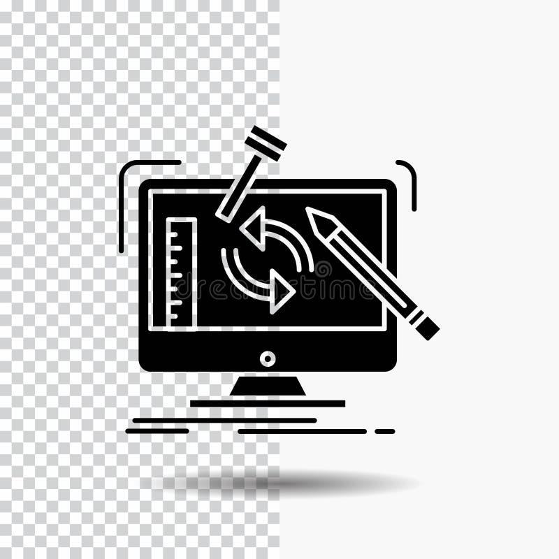 konstruujący, projekt, narzędzia, warsztat, przerobowa glif ikona na Przejrzystym tle Czarna ikona ilustracji