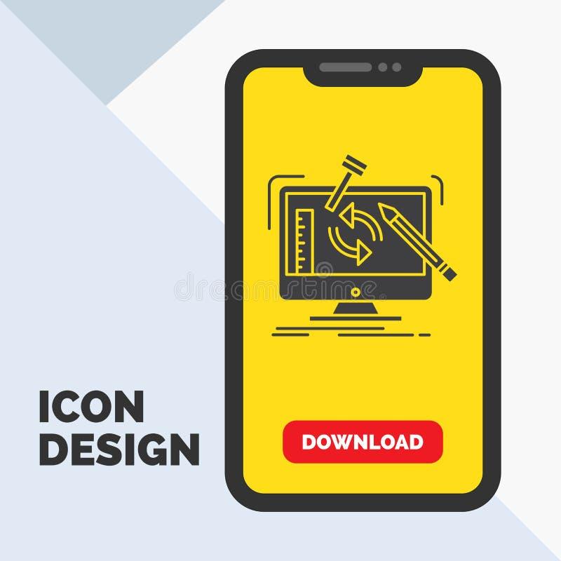 konstruujący, projekt, narzędzia, warsztat, przerobowa glif ikona w wiszącej ozdobie dla ściąganie strony ? ilustracji